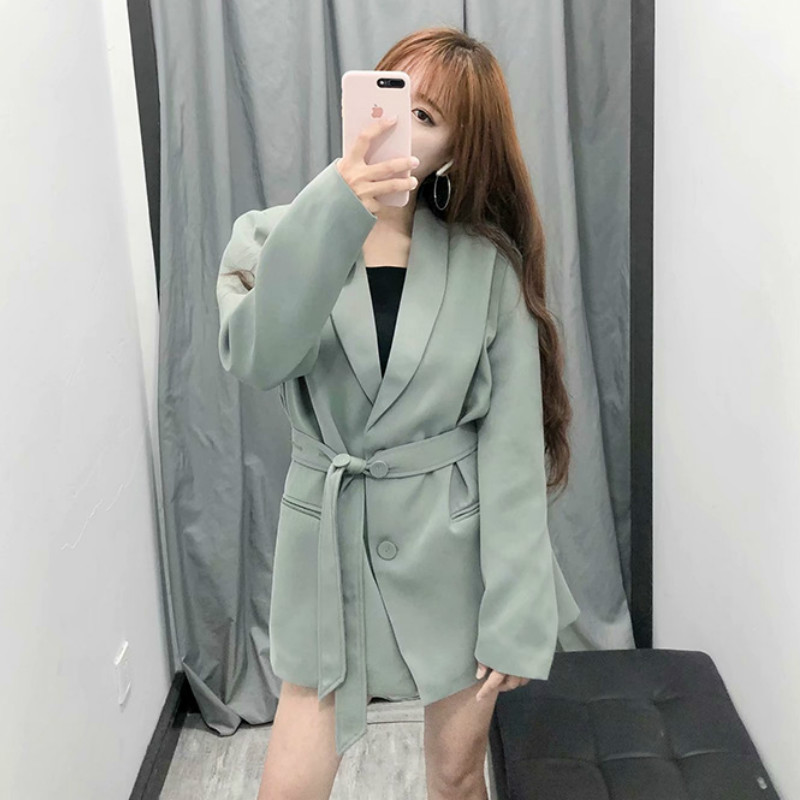 Casual Long Sleeve Women's Suit Trendy Solid Color Single-breasted Slim Waist Blazer Office Jacket Female Large Size 2019 New