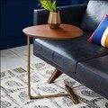 Скандинавский простой Овальный кофейный мини-столик  боковой столик  мобильный диван  угловой  несколько Сторон  ленивый прикроватный стол...