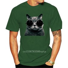 T-SHIRT CHAT AVEC LUNETTES CAT FUNNY BLANC THE HAPPINESS IS HAVE MY T-SHIRT NEUF