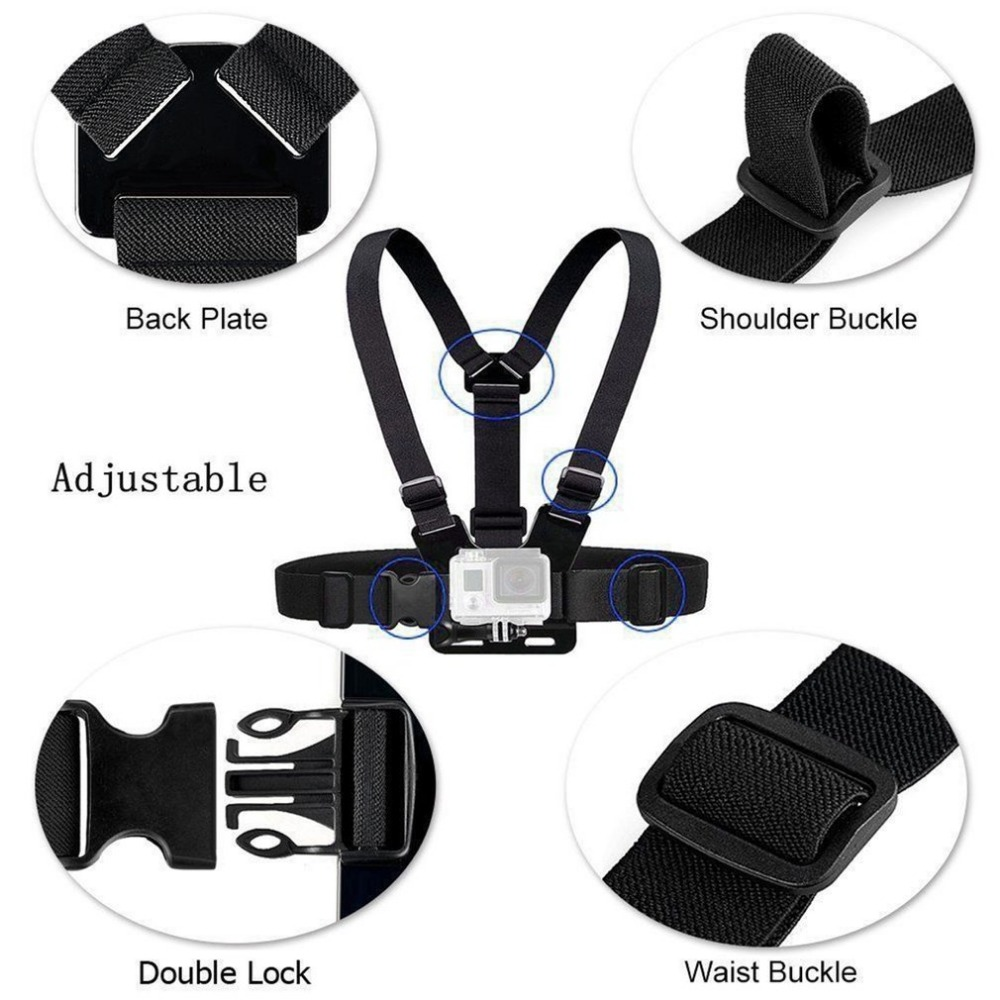 GoPro Accessories Adjustable Chest Mount Harness Chest Strap Belt for GoPro HD Hero 8 7 6 5 4 3+ 3  SJ4000 SJ5000 Sport Camera-4