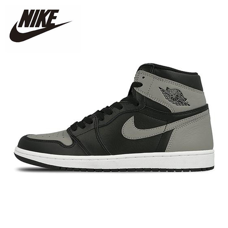 Original Nike Air Jordan 1 Retro High Shadow 2018 High-top  Basketball Shoes Men Women Unisex Outdoor Sneakers 555088-013