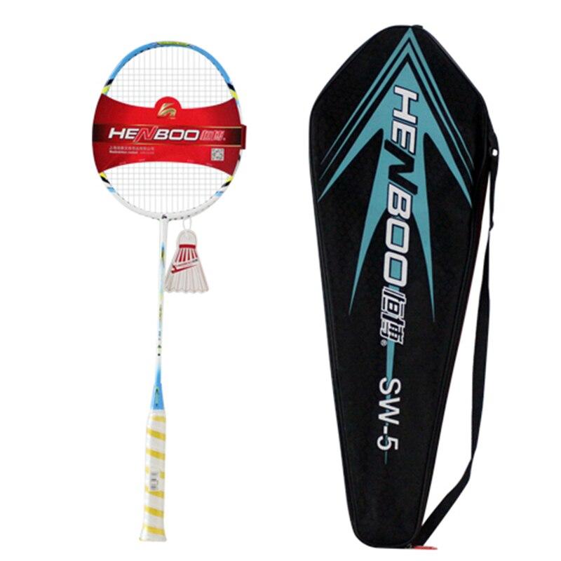 HENBOO Super élastique Badminton Set Ultra-léger carbone Composite entraînement raquette de Badminton léger Standard équipement de sport