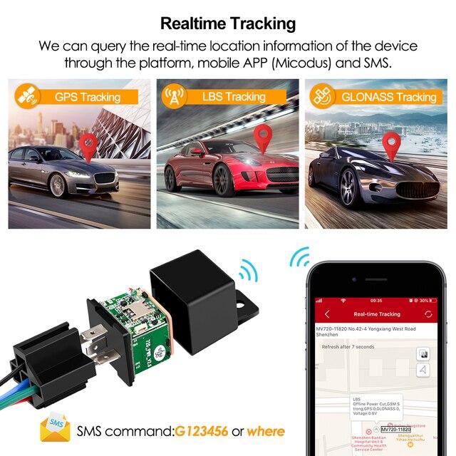 Mini GPS Tracker Car Tracker Micodus MV720 Hidden Design Cut Off Fuel GPS Car Locator 9-90V 80mAh Shock Overspeed Alert Free APP 3