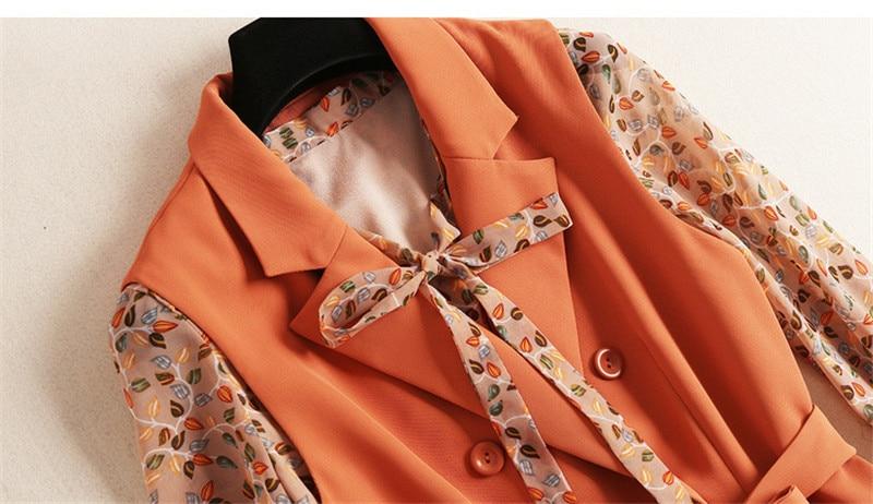 de Impressão Vestido de Chiffon e Entalhado Vestido de Colete 2piece set