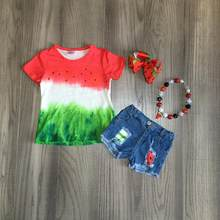 Girlymax Summer baby girls watermelon short sleeve clothes tie dyed ruffles boutique jeans shorts set outfits match accessories(China)