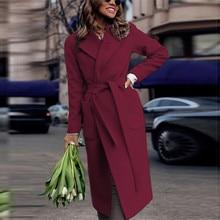 Зимнее пальто женские куртки с длинными рукавами Осенние Теплые однотонные Свободные повседневные пальто с поясом женские Casaco женские пальто