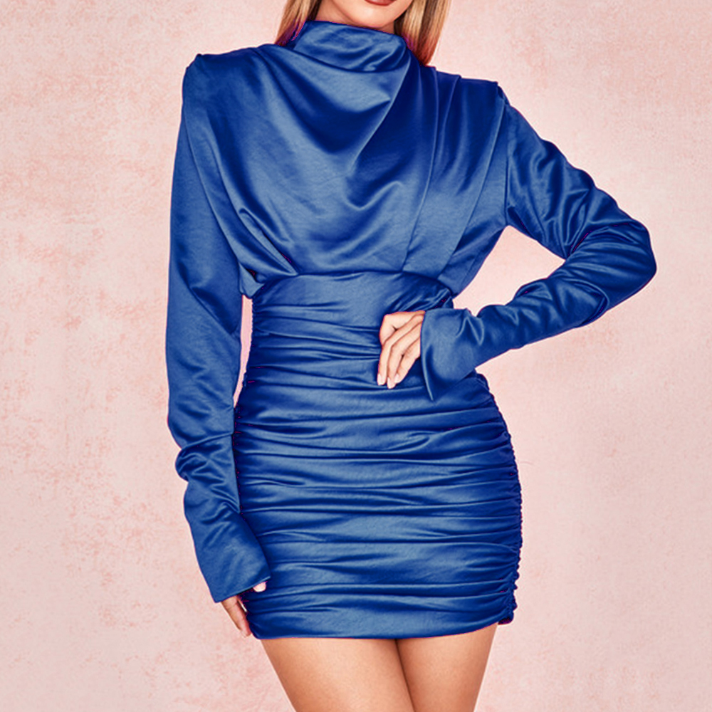 Women dresss O-neck Full Sleeve Pleated Mini Dress Sexy Silky Slim Club night Party Dress Elegant Autumn Bodycon Dress Vestidos