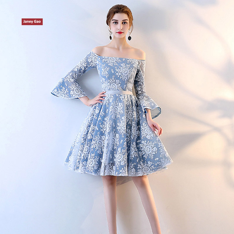 JaneyGao Short Bridesmaid Dresses Light Sky Blue Six Styles For Choosing 2019 New Arrival Women Formal Dress For Wedding Party