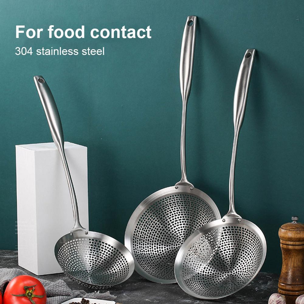 3pcs Stainless Steel Skimmer Spoons Net Leak Mesh Thicken Foam Gravy Colander