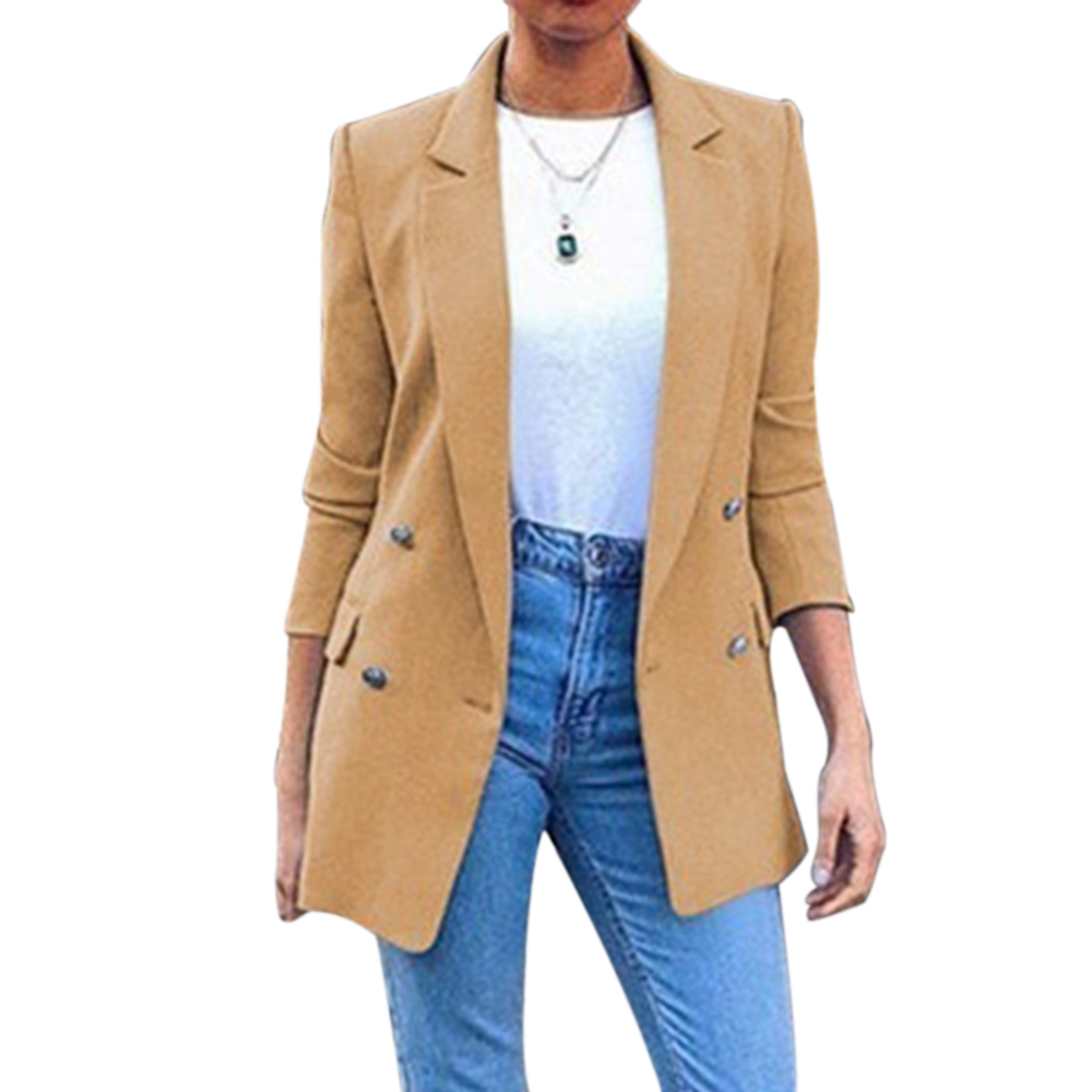 MoneRffi 2020 Spring Blazer Womens Suit Long Solid Color Coat Office Ladies Turn Down Collar Casual Female Outerwear Suit Blazer