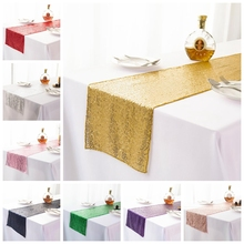 19 Colours Wedding Table Runner Sequin Shiny Gold Silver Luxury Embroider Sequin Table Runner For Wedding Hotel Dinner Party