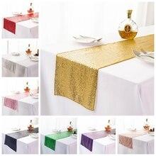 19 couleurs chemin de Table de mariage Sequin brillant or argent luxe broder Sequin chemin de Table pour mariage hôtel dîner fête