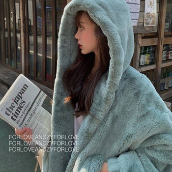 Fashion faux fur coat winter ladies casual hooded slim long-sleeved faux fox fur winter coat ladies casual hooded plush coat thicken fur faux fur coat female korean version of the fashion slim in the long hooded raccoon fur fur coat womens fur jacket