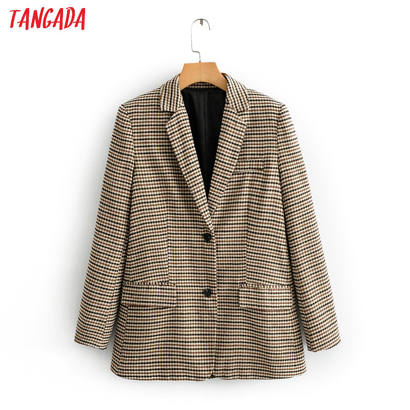 Tangada Women Vintage Houndstooth Print Blazer Female Long Sleeve Elegant Jacket Ladies Work Wear Blazer Formal Suits QJ131