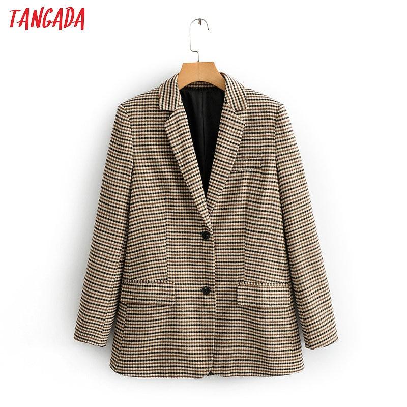Tangada Women Vintage Houndstooth Print Blazer Female Long Sleeve Elegant Jacket Ladies Work Wear Blazer Formal Suits QJ131