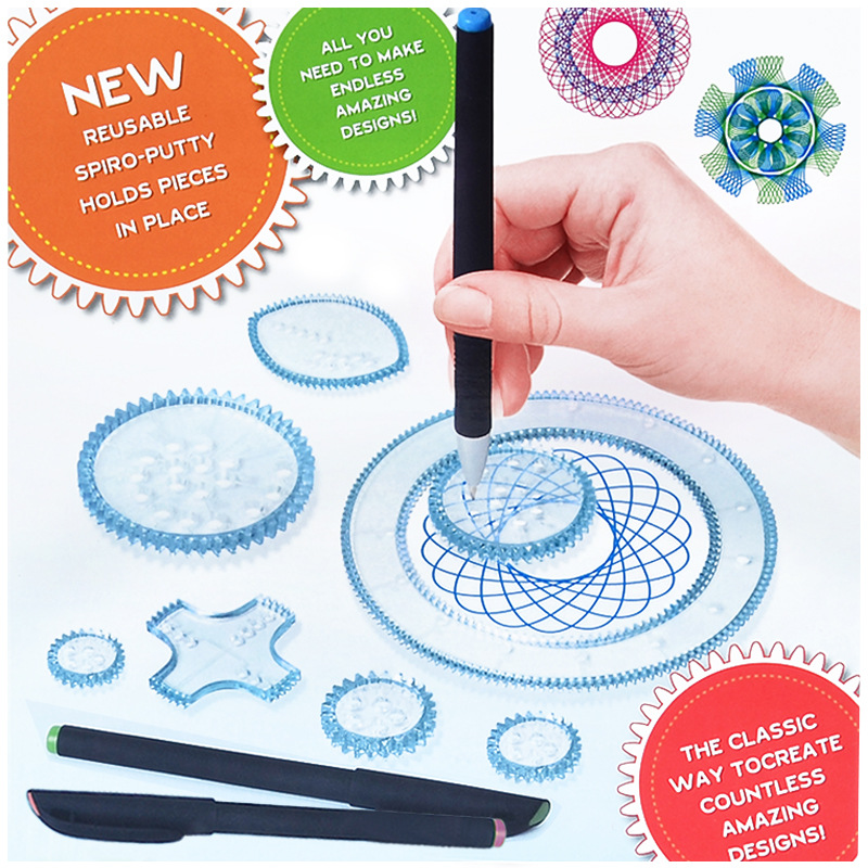 Spirograph Package Children Fine Art Painted Template Ruler Stationery Set Drawing Fantasy Spirograph