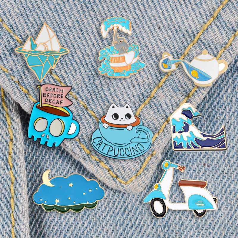 Sea wave enamel pin Blue Cute Cat coffee cup badge brooches Iceberg Teapot Electric car Lapel pin Cartoon jewelry gift wholesale