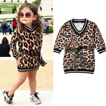 Leopard Printed Dress Baby Girl Clothes 2-6 Years Kids Child Toddler Autumn Long Sleeve Belt Party Straight Casual