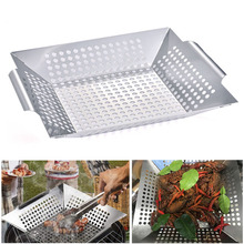 Basket Grill Barbecue-Grill-Pan Square Stainless-Steel Baking-Tray Bbq-Grid Topper Veggies