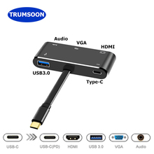 Trumsoon Type C to 4K HDMI VGA USB C USB 3.0 Aux Adapter Hub for MacBook Surface Samsung S8 Dex Huawei P20 Dock Projector TV