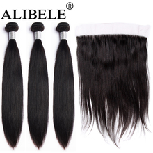 Alibele Brazilian straight Bundles With Frontal Closure10-30in M Remy Human Hair 3 Bundles With 13x4 Ear To Ear Frontal Closure