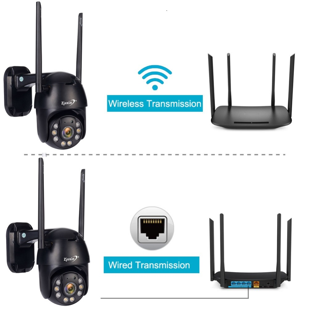 H659a83a029d44488a722d4e0cb032ecdb Zjuxin PTZ IP Camera WiFi HD1080P Wireless Wired PTZ Outdoor CCTV Security Camra Double light human detection AI cloud camera