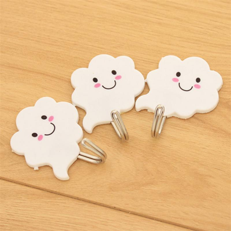 3Pcs Bathroom Kitchen White Clouds Shape Hanger Hooks Self-adhesive Hooks Home Wall-mounted Clothes Towel Storage Holder Racks
