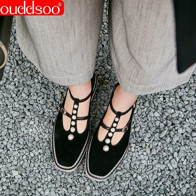 Женские лоферы ODS, черные повседневные лоферы на низком каблуке с пряжкой на ремешке и жемчугом на весну осень 2019
