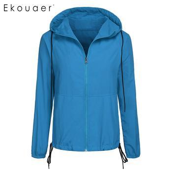Ekouaer Women Waterproof Jackets Hooded Long Sleeve Solid Full Zipper Casual Outwear Sporting Drawstring Windbreaker Coats