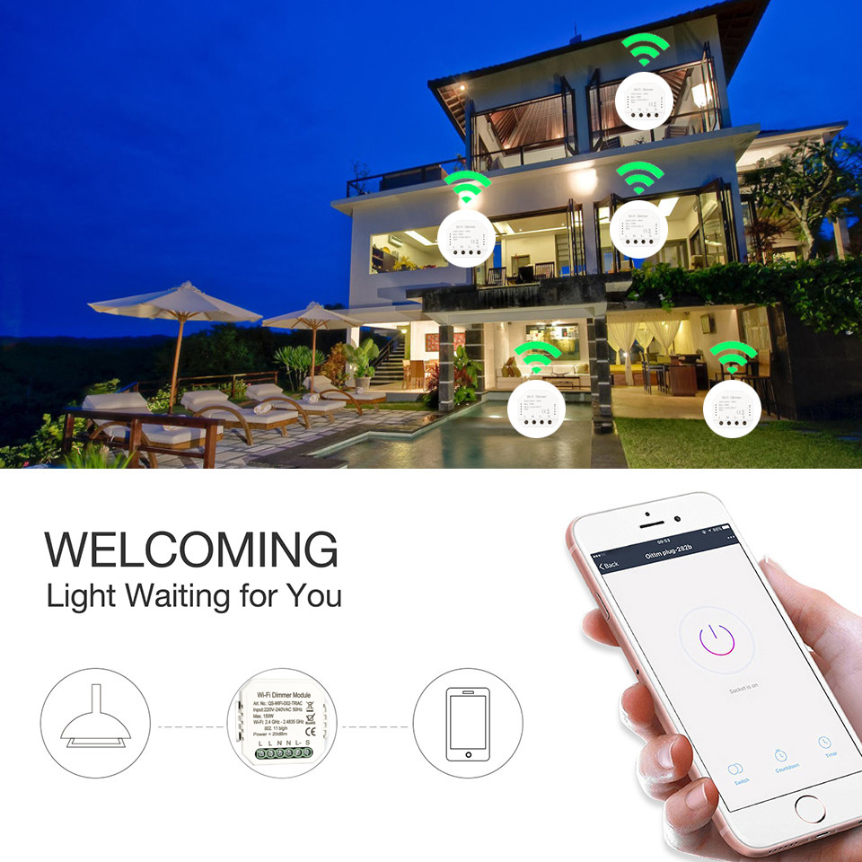 Tuya DIY умный WiFi светодиодный диммер с дистанционным управлением 1/2 переключатель, работает с Alexa Echo Google Home