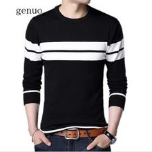 Brand Spring Autumn England Style Men Knitted Thin Sweaters Striped Casual Wool Pullovers Male Casual Long Shirts Tops