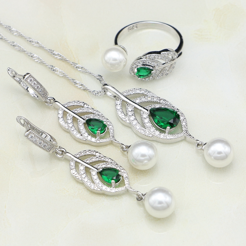 925 Silver Jewelry Sets Natural Green Cubic Zirconia White Pearl For Women Drop Earrings/Ring/Pendant/Necklace Set