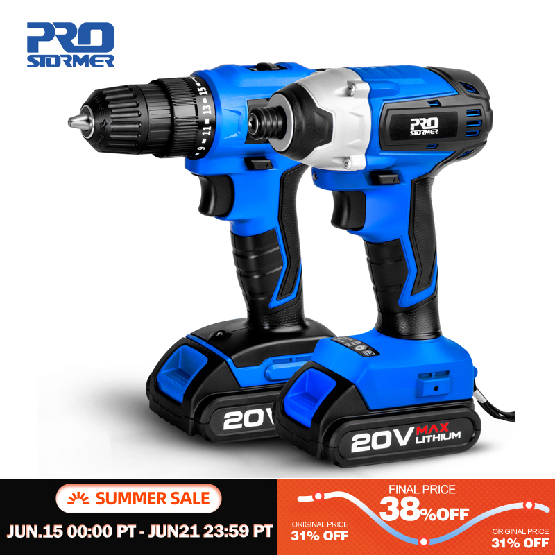20V Cordless Impact Drill Cordless Screwdriver Optional Two Piece Set 2000mAh Wireless Rechargeable Screwdriver By PROSTORMER|Electric Drills|   - AliExpress