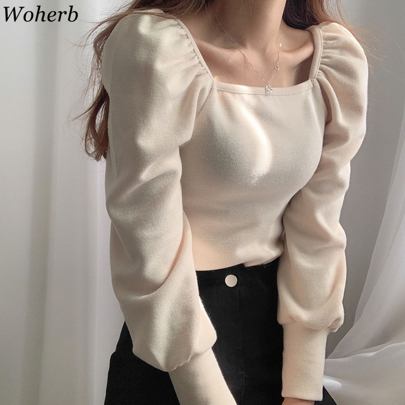 Woherb 2020 Women Fashion Puff Sleeve Basic Knitting Sweater Autumn Solid Casual Slim-fit Knitted Pullover Korean Vintage Jumper