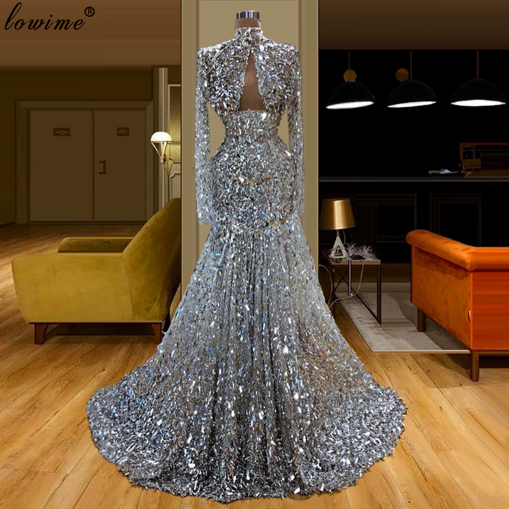 Dubai Silver Sequins Long Prom Dresses Mermaid High Neck Women Party Dress Middle East Evening Dress вечернее платье Vestidos