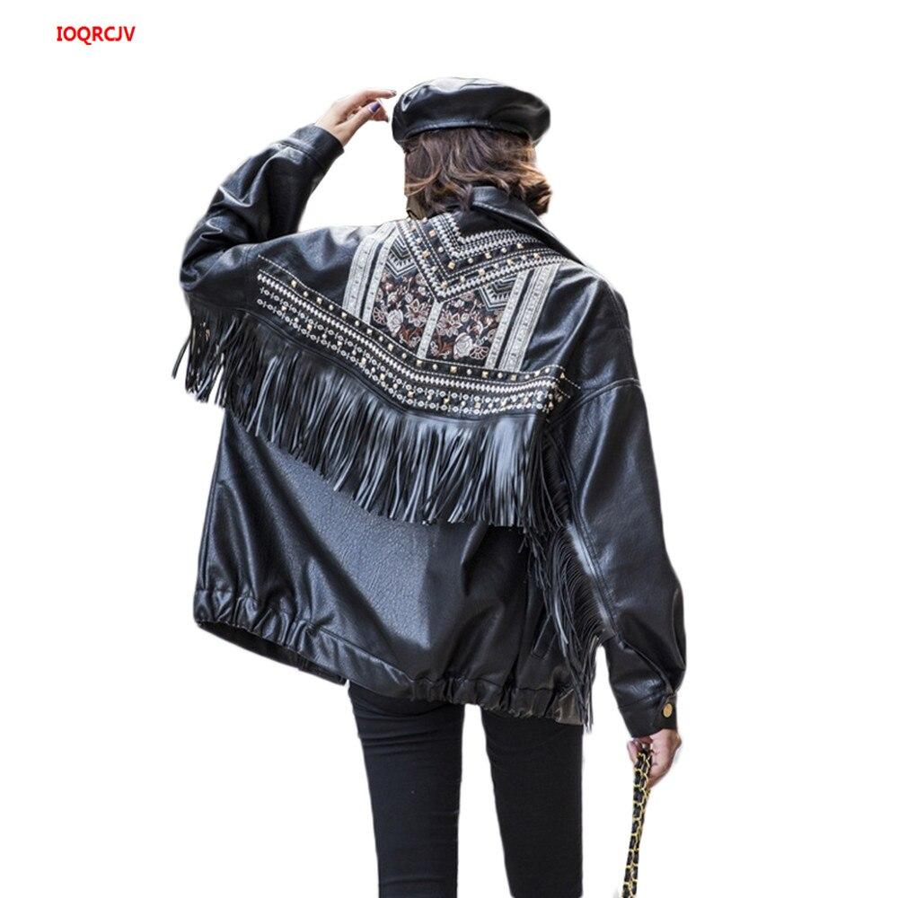 Leather   Jacket Women Fringed Rivet Punk PU   Leather   Jacket Locomotive Short Coat Motorcycle Outerwear Lady Embroidery Coats W1504