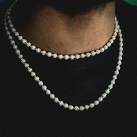 TOPGRILLZ 6mm Iced Ball Chain Choker Necklace Hip Hop Charm Necklace Iced Out Cubic Zirconia Hip Hop Bling Jewelry For Gift