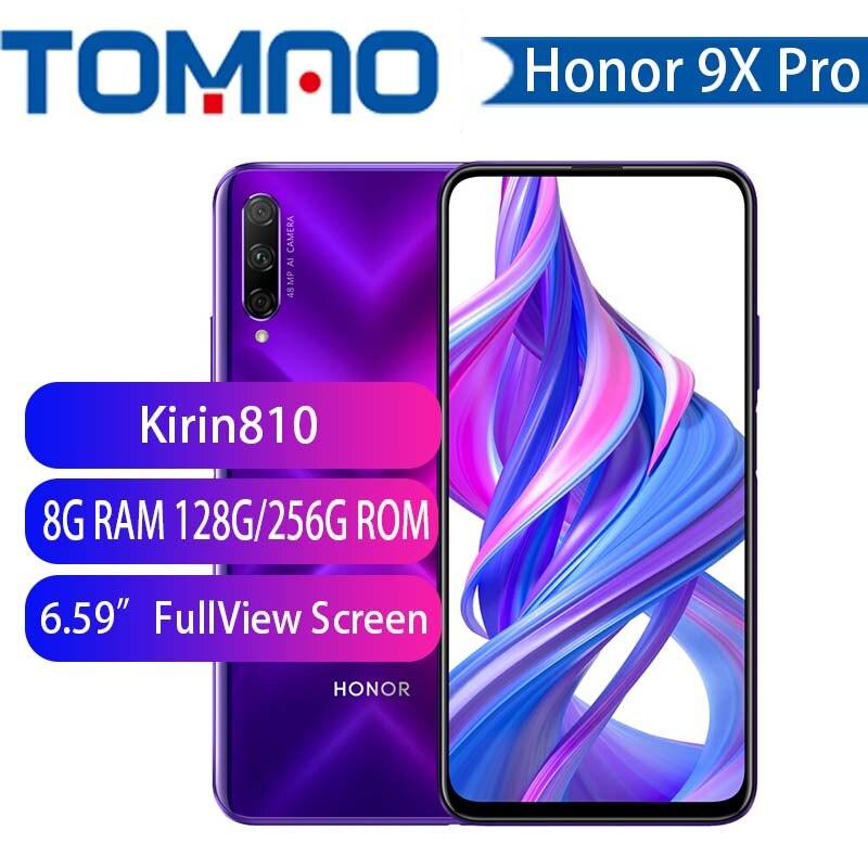 Ehre 9x 9x pro SmartPhone Kirin 810 Octa Core 6,59 zoll Heben Volle Bildschirm 48MP Dual Kameras 4000mAh GPU turbo Handy