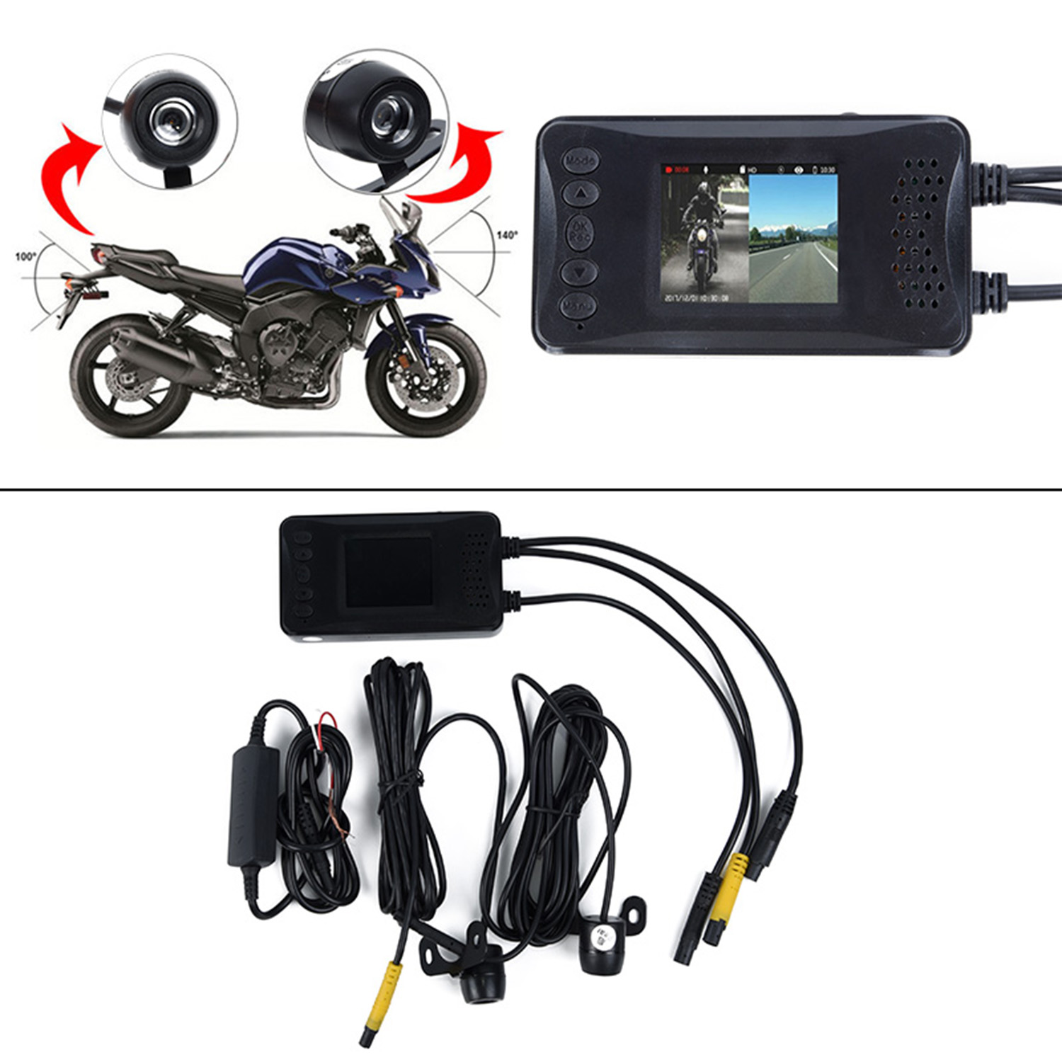 "3"" 1080P HD Motorcycle Camera DVR Motor Dash Cam With Special Dual-track Front Rear Recorder Motorbike Electronics"
