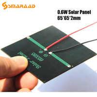 Поликристаллическая солнечная панель 0,6 Вт 5,5 В, солнечная панель, DIY, солнечная игрушка, панель, зарядное устройство с кабелем 15 см, светодио...