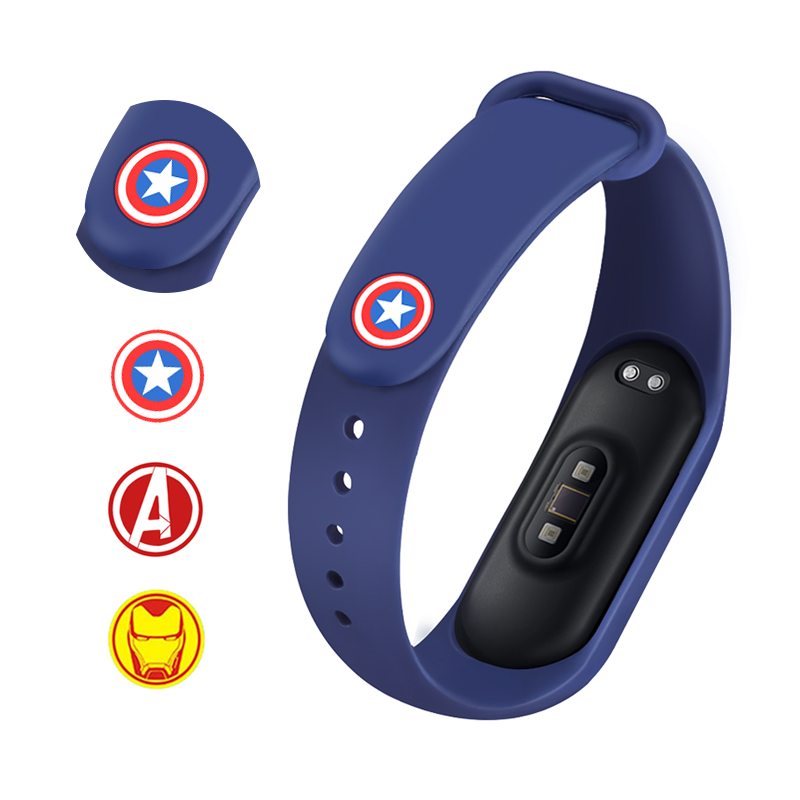 Metal Buckle For Mi Band 4 Silicone Strap Pattern Button For Xiaomi Mi Band 4/3 Bracelet Miband 4 The Avengers Limited Edition