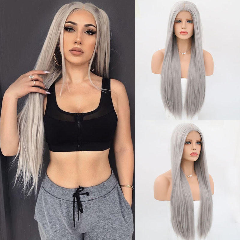 Charisma 26 Inches Long Silky Straight Hair Sliver Grey Synthetic Wigs Middle Part Lace Front Wig For Black Women 150 Density