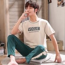 Мужская пижама лето с коротким рукавом топы + длинные брюки 100% хлопок пижамы домашняя одежда костюм простой мода пижамы мужчин