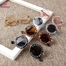 Солнцезащитные очки Pudcoco, новинка, модные круглые однотонные солнцезащитные очки с надписью для маленьких девочек и мальчиков, 7 цветов