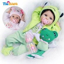 Кукла реборн силиконовая виниловая хлопковая, милая игрушка для девочек, 2 наряда, подарок на день рождения, подарок ребенку, 55 см