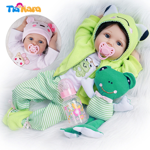 55cm Reborn Baby Doll Cute Toys for Girl 2 Outfits Real Newborn Bebe Birthday Gifts Kids Playmate Silicone Vinyl Cotton Body(China)