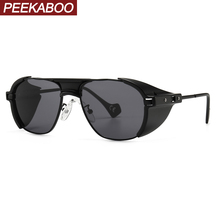 Peekaboo retro punk sunglasses with side shields windproof 2