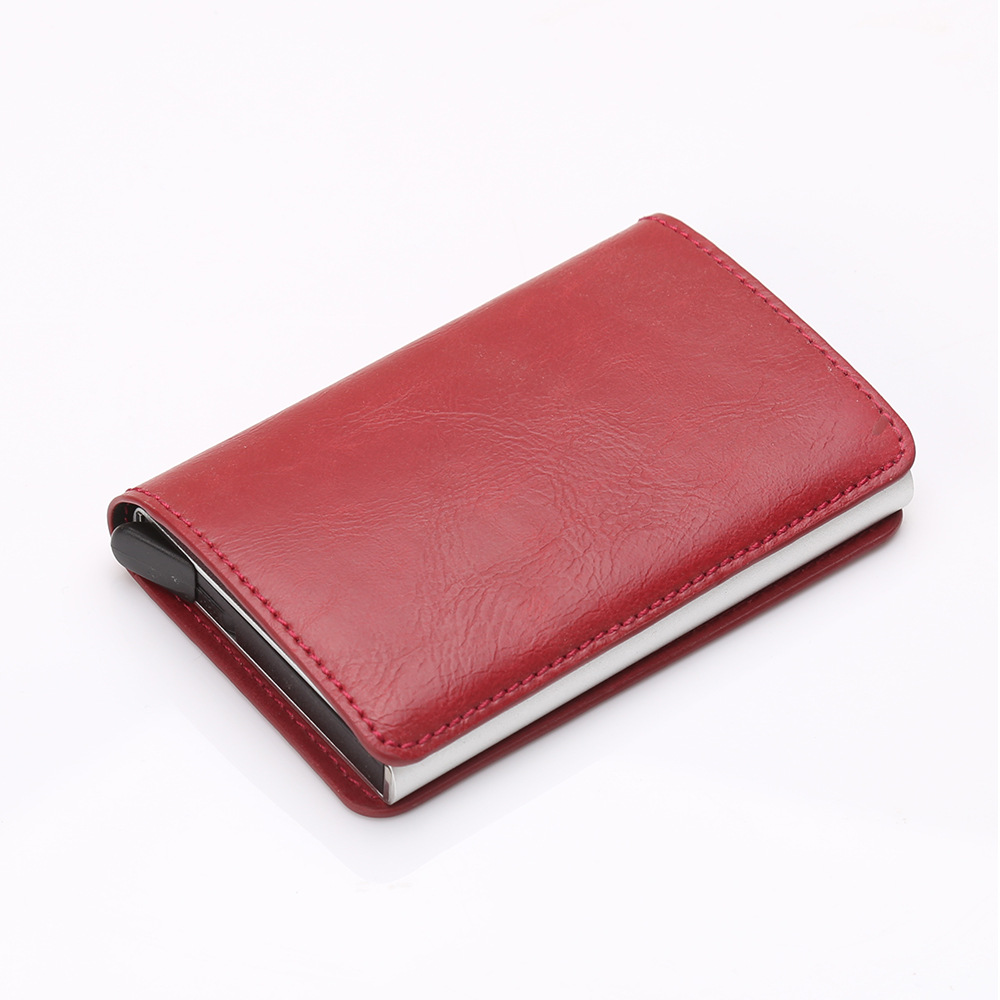 Leather Automatic Credit Card Holder Pop Up Metal Cardcase Protection