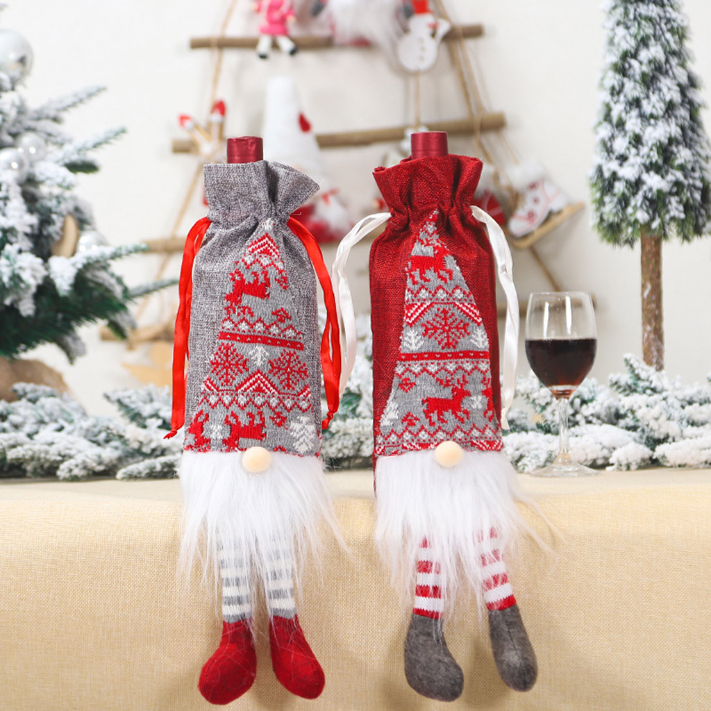 Well-Educated Home Santa Clause Merry Christmas Party Merry Christmas Santa Wine Bottle Bag Cover Xmas Festival Party Table Decor Gift 2020 Big Clearance Sale
