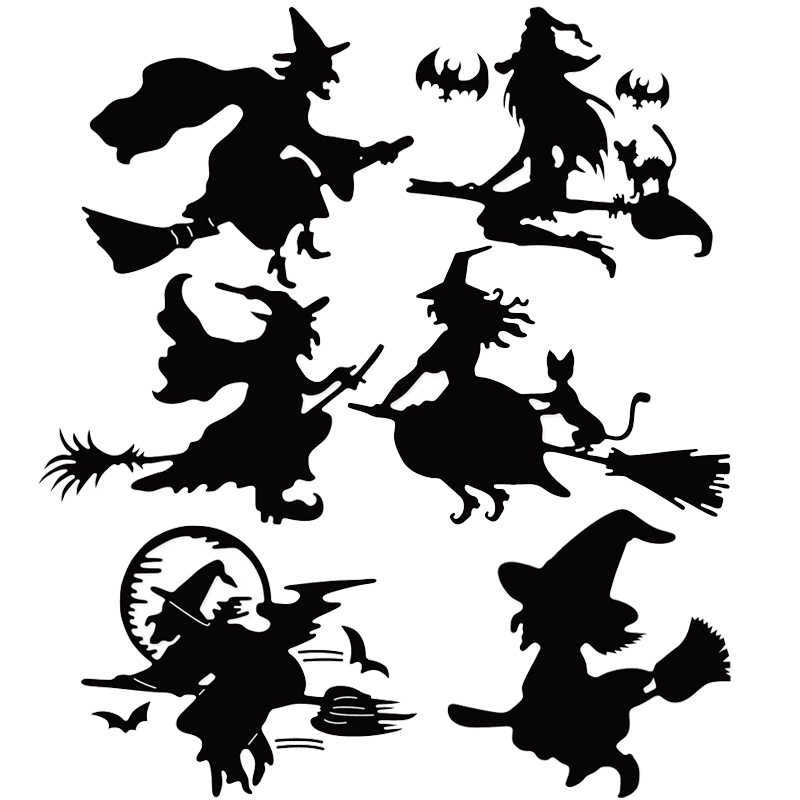 Halloween Stencils Broom Witch Cat Bat Metal Cutting Dies Scrapbooking Embossing Die Cuts For Invitation Cards Making Craft Dies
